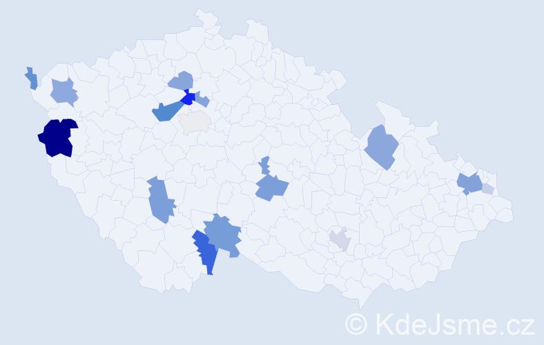 Příjmení: 'Lazarovová', počet výskytů 40 v celé ČR