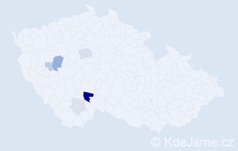 Příjmení: 'Hajič', počet výskytů 18 v celé ČR