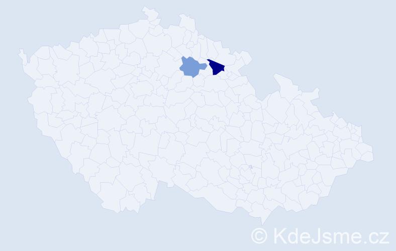 Příjmení: 'Jungkindová', počet výskytů 3 v celé ČR