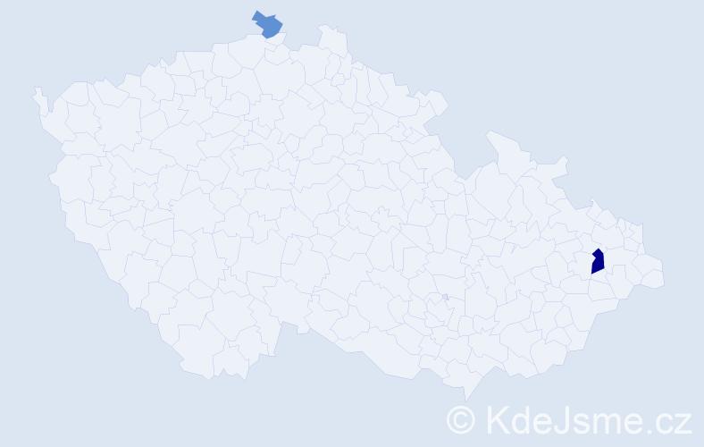 Příjmení: 'Klučíková', počet výskytů 4 v celé ČR