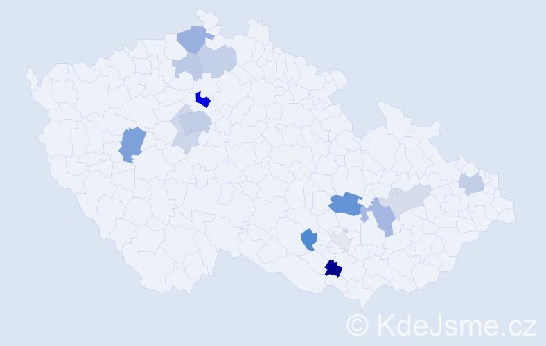 Příjmení: 'Čornejová', počet výskytů 34 v celé ČR