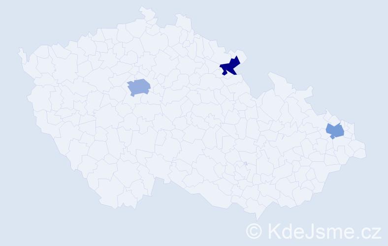Příjmení: 'Hainzel', počet výskytů 4 v celé ČR