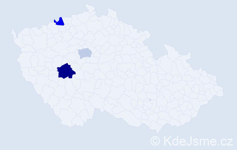Příjmení: 'Kárasová', počet výskytů 5 v celé ČR