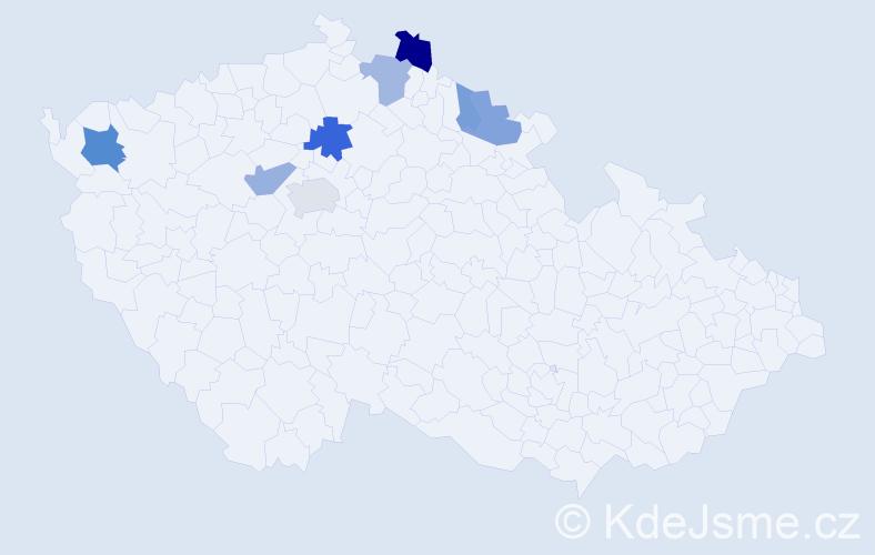 Příjmení: 'Barac', počet výskytů 20 v celé ČR
