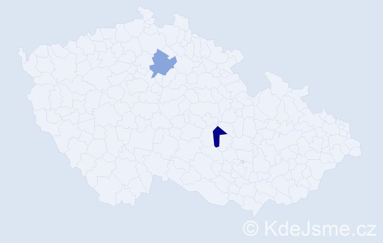 Příjmení: 'Čegiň', počet výskytů 2 v celé ČR