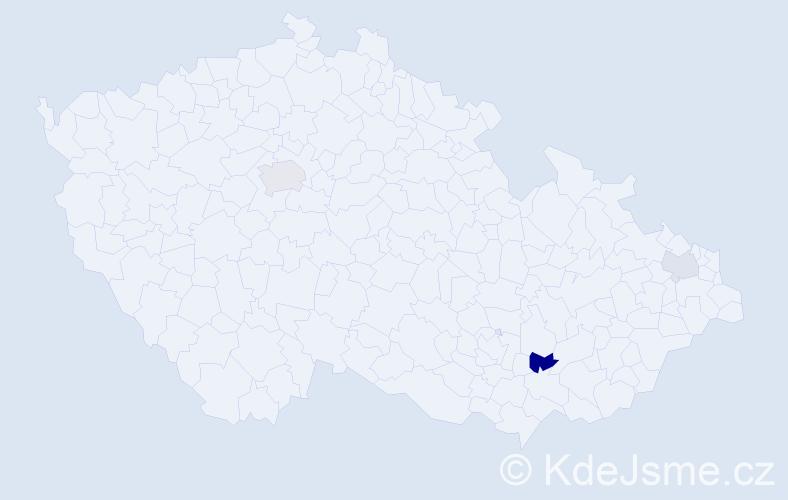 Příjmení: 'Gavaľa', počet výskytů 5 v celé ČR