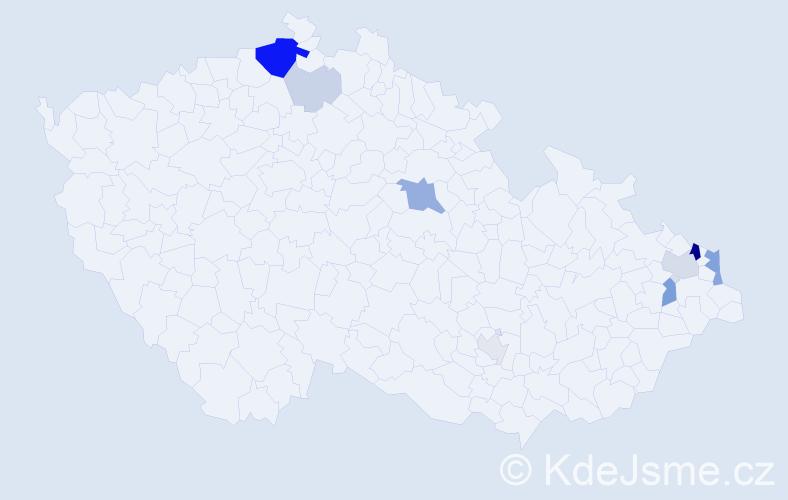 Příjmení: 'Čeřenská', počet výskytů 27 v celé ČR