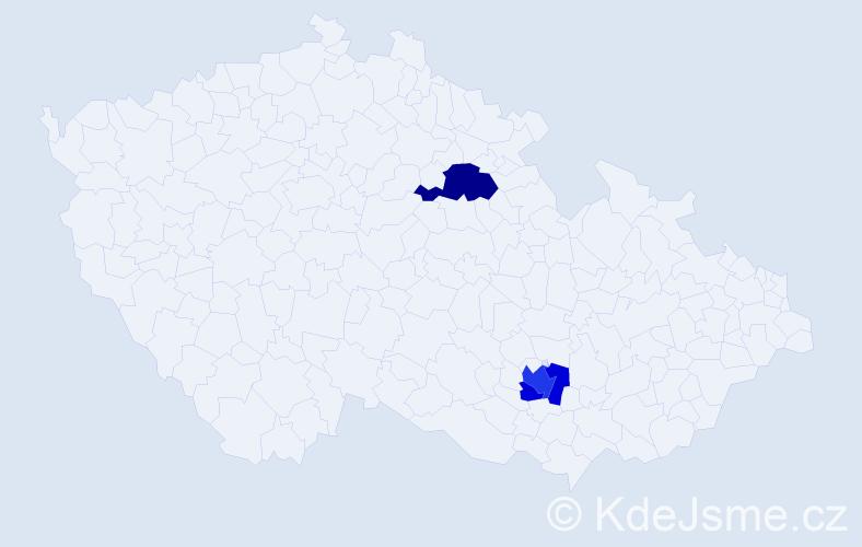 Příjmení: 'Lacourtová', počet výskytů 6 v celé ČR