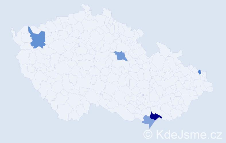 Příjmení: 'Gajarová', počet výskytů 10 v celé ČR