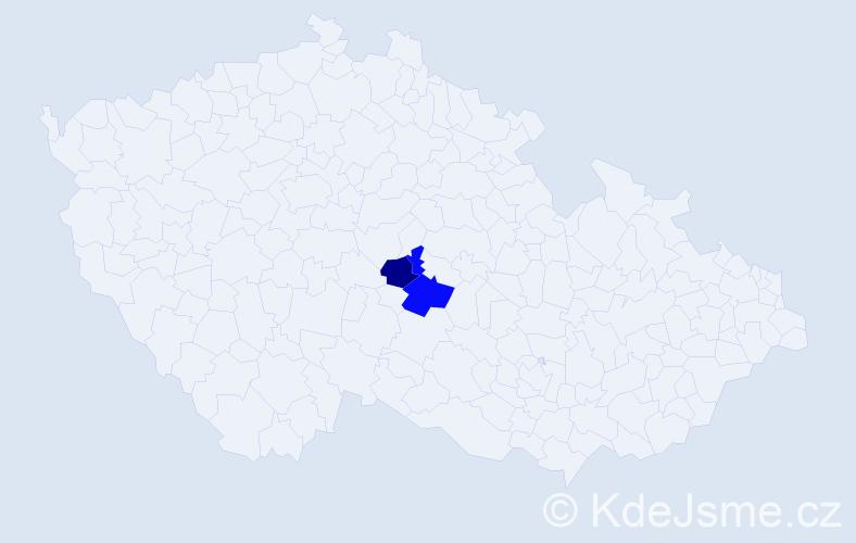 Příjmení: 'Adamjaková', počet výskytů 3 v celé ČR