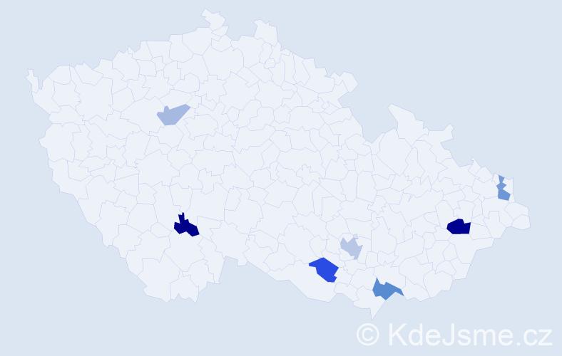 Příjmení: 'Adzimová', počet výskytů 13 v celé ČR