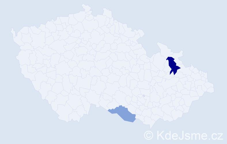 Příjmení: 'Fehérváriová', počet výskytů 3 v celé ČR