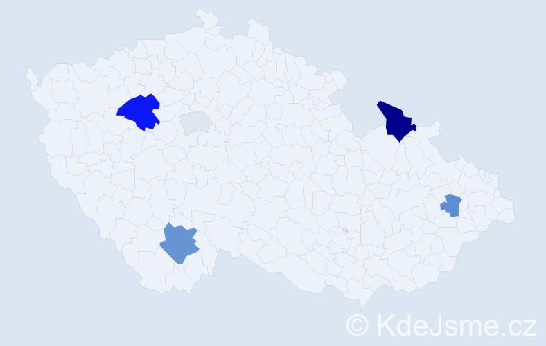 Příjmení: 'Gaydiczová', počet výskytů 8 v celé ČR