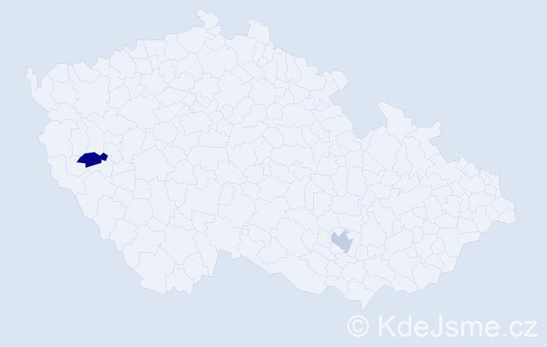Příjmení: 'Haley', počet výskytů 4 v celé ČR