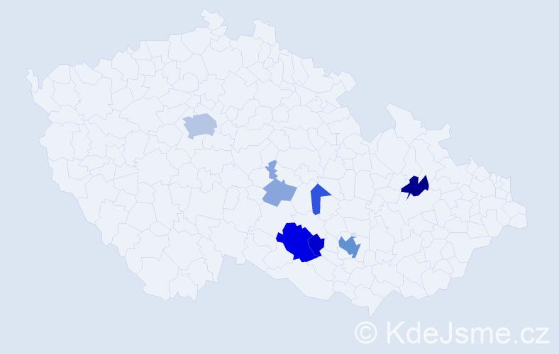 Příjmení: 'Kravka', počet výskytů 25 v celé ČR