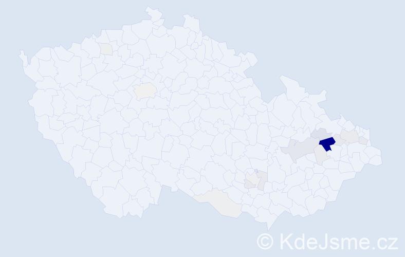 Příjmení: 'Klevar', počet výskytů 52 v celé ČR