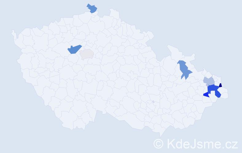 Příjmení: 'Kašok', počet výskytů 15 v celé ČR