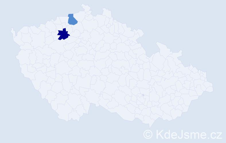 Příjmení: 'Lebeděva', počet výskytů 2 v celé ČR