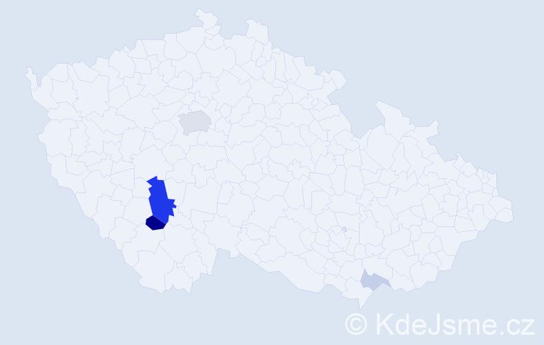Příjmení: 'Gotfríd', počet výskytů 14 v celé ČR