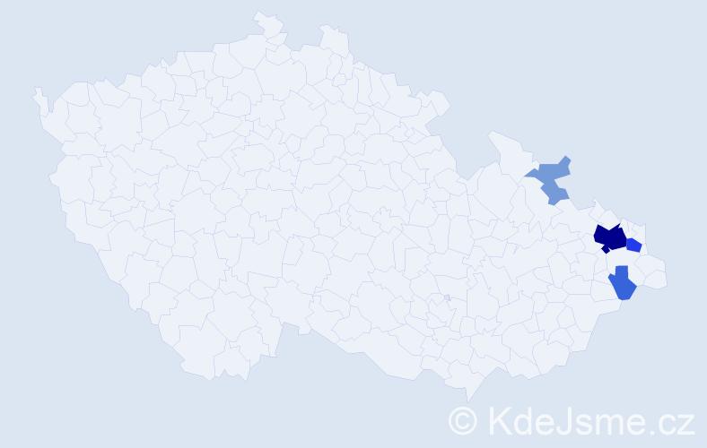 Příjmení: 'Jendryková', počet výskytů 21 v celé ČR
