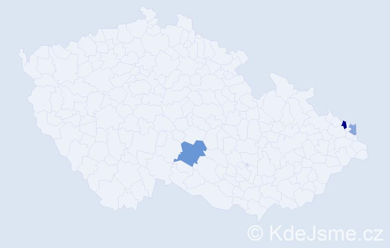 Příjmení: 'Hasaj', počet výskytů 5 v celé ČR