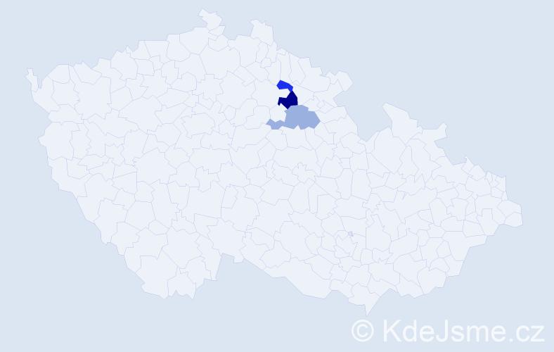 Příjmení: 'Elcnerová', počet výskytů 5 v celé ČR