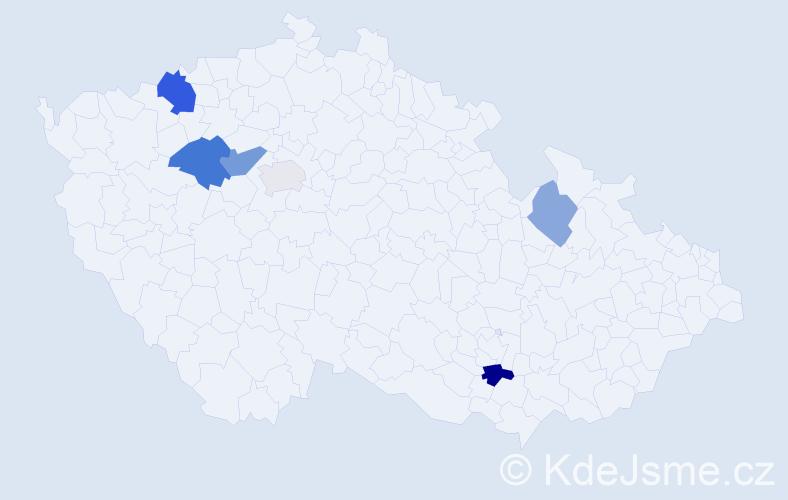 Příjmení: 'Isteník', počet výskytů 11 v celé ČR
