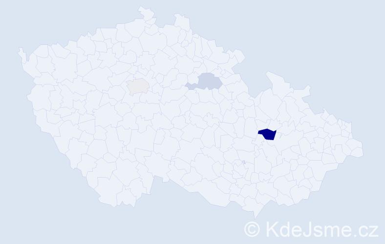 Příjmení: 'Gundelová', počet výskytů 5 v celé ČR