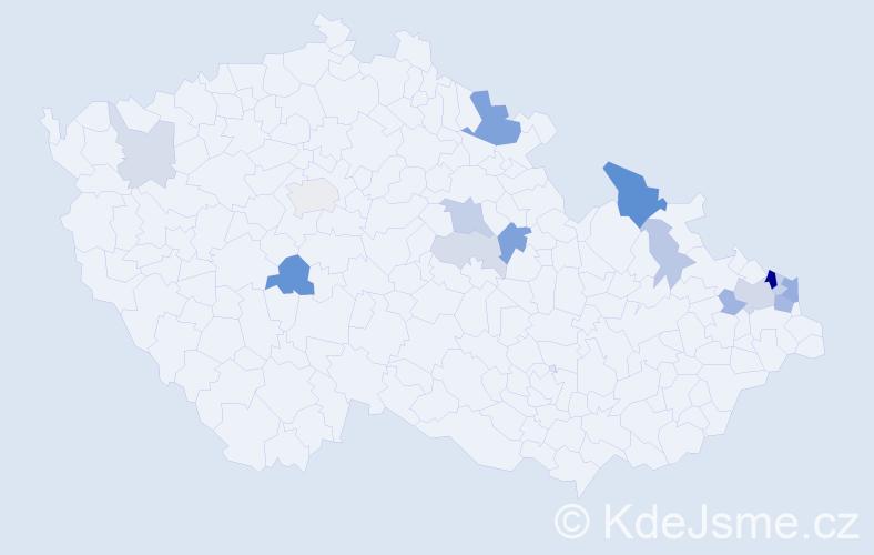 Příjmení: 'Čimbora', počet výskytů 37 v celé ČR