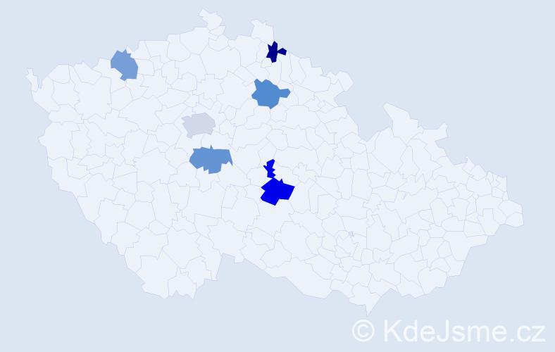 Příjmení: 'Cyranyová', počet výskytů 8 v celé ČR