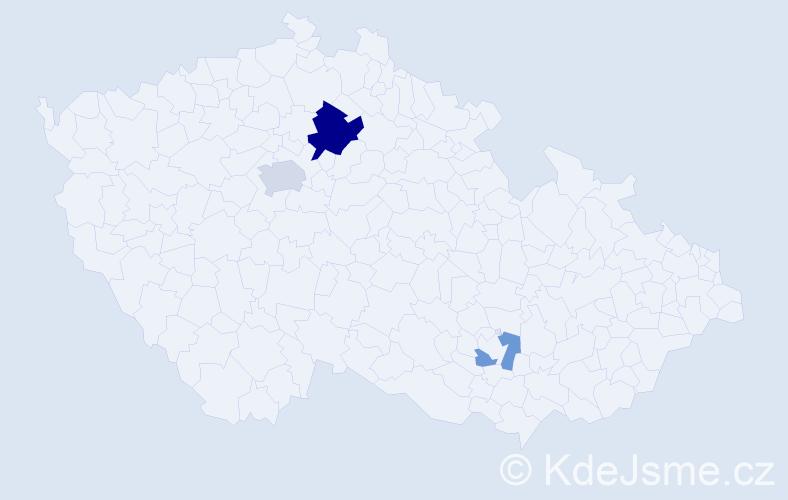 Příjmení: 'Kieslová', počet výskytů 7 v celé ČR