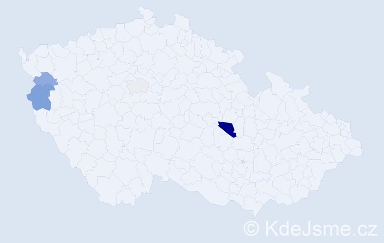 Příjmení: 'Čoriová', počet výskytů 9 v celé ČR