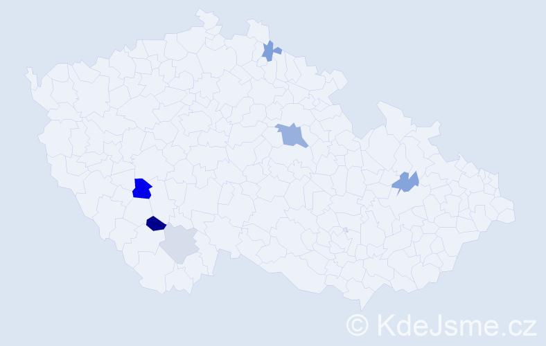 Příjmení: 'Benadiková', počet výskytů 10 v celé ČR
