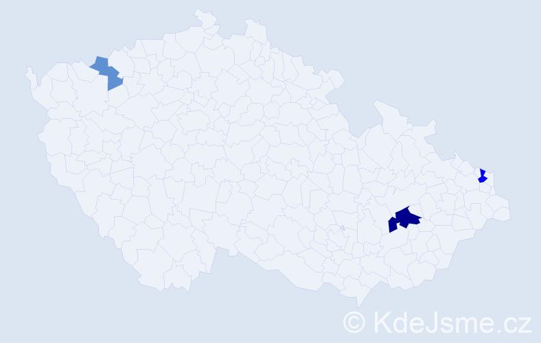 Příjmení: 'Ivorová', počet výskytů 7 v celé ČR