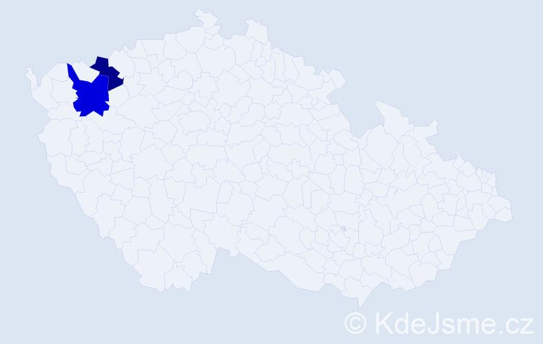 Příjmení: 'Jacoš', počet výskytů 5 v celé ČR