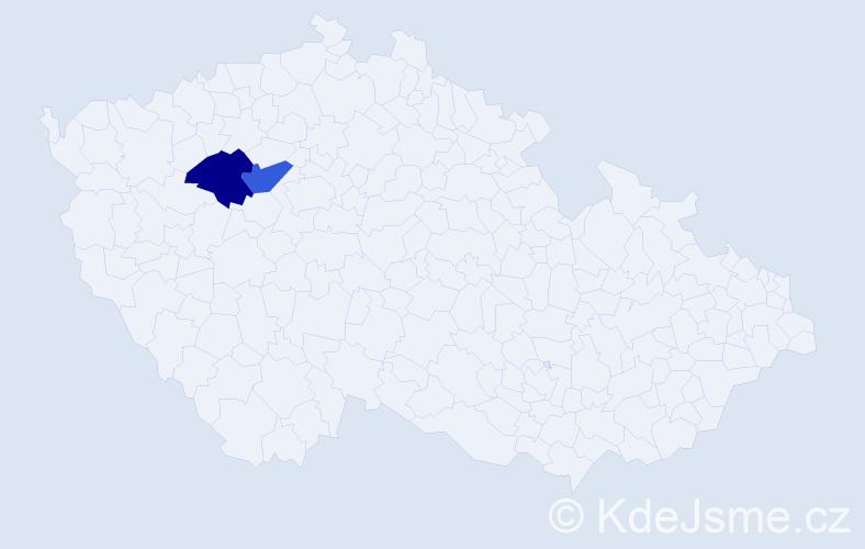 Příjmení: 'Kendiová', počet výskytů 4 v celé ČR