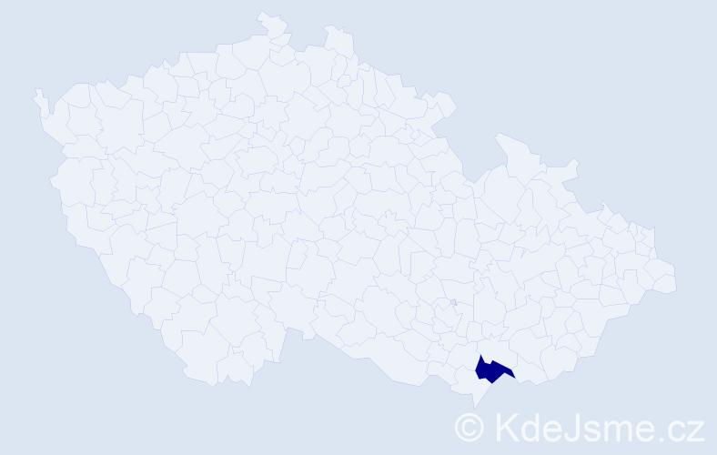 """Příjmení: '""""Kljunić Briešťanská""""', počet výskytů 1 v celé ČR"""