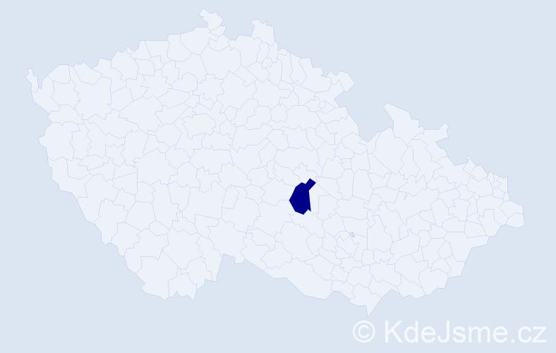 """Příjmení: '""""Čechová Šťastná""""', počet výskytů 1 v celé ČR"""