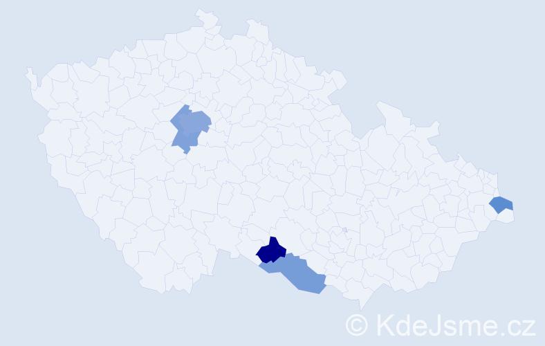 Příjmení: 'Bellada', počet výskytů 10 v celé ČR