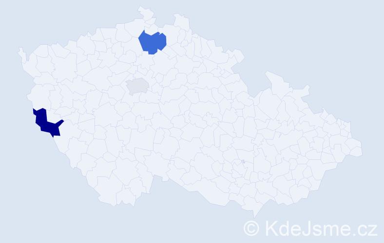 Příjmení: 'Apfelbecková', počet výskytů 5 v celé ČR