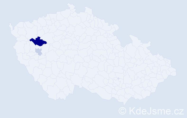 Příjmení: 'Berčková', počet výskytů 3 v celé ČR