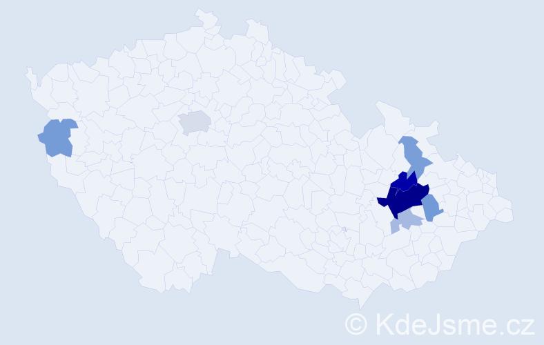 Příjmení: 'Huslar', počet výskytů 19 v celé ČR