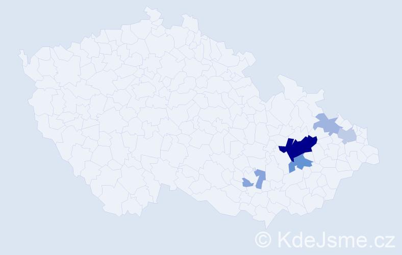 Příjmení: 'Lepař', počet výskytů 27 v celé ČR