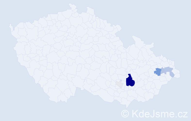 Příjmení: 'Čepánová', počet výskytů 17 v celé ČR