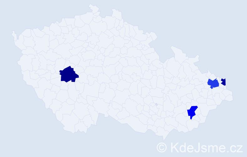 Příjmení: 'Kočik', počet výskytů 5 v celé ČR