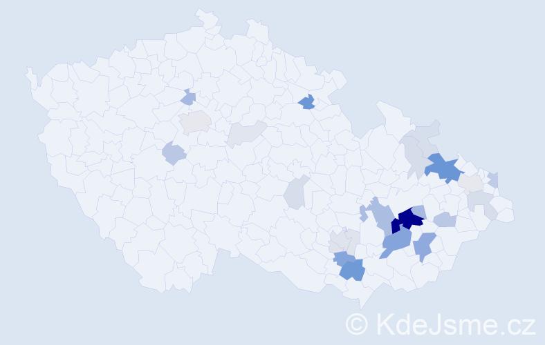 Příjmení: 'Krybus', počet výskytů 103 v celé ČR