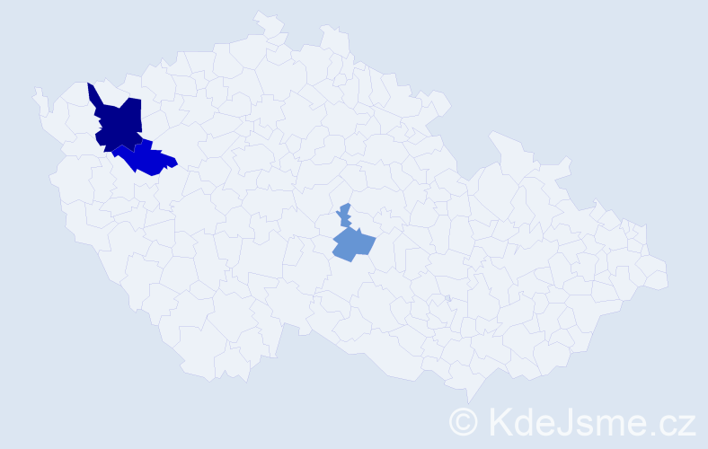 Příjmení: 'Čokota', počet výskytů 6 v celé ČR
