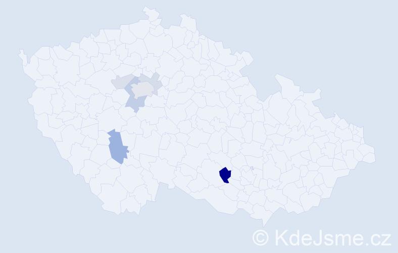 Příjmení: 'Jakubovie', počet výskytů 13 v celé ČR
