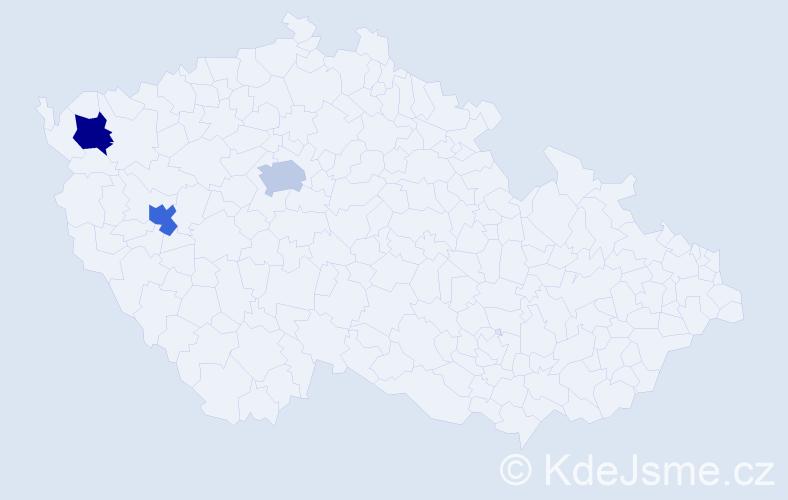 Příjmení: 'Ekštein', počet výskytů 6 v celé ČR