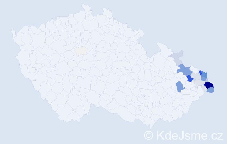 Příjmení: 'Kolarczyková', počet výskytů 70 v celé ČR